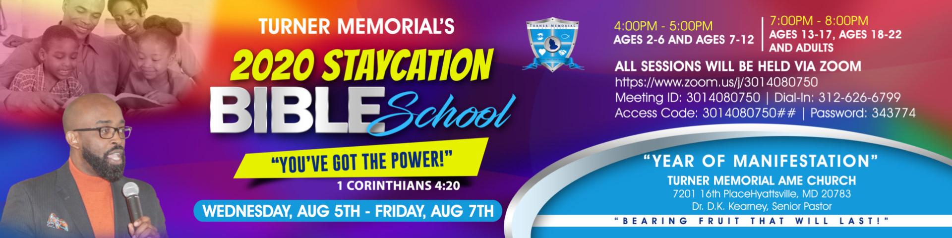 2020 Staycation Bible School banner