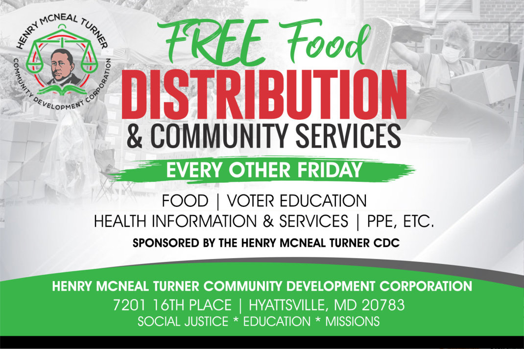 Free Food Distribution and Community Services Flyer